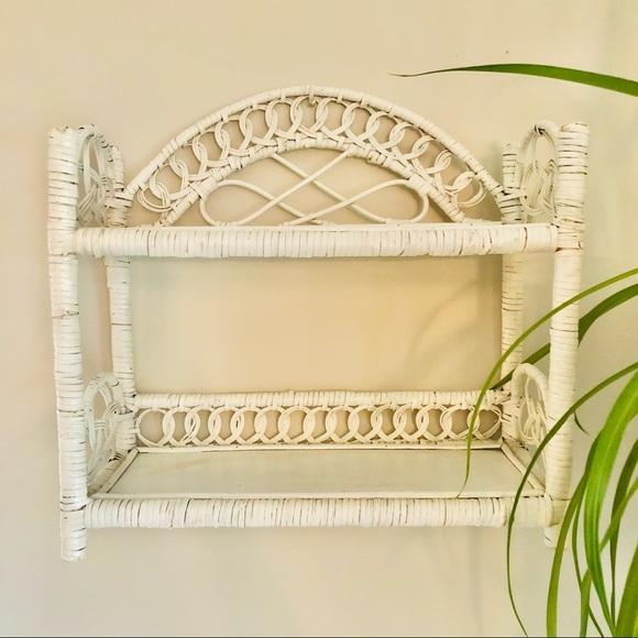 Vintage White Wicker Rattan Wood Display Shelf